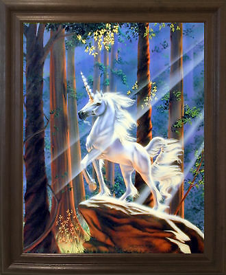 Light in the Forest Sue Dawe Unicorn Horse Brown Rust Framed Art Picture (19x23) - Unicorn In Forest