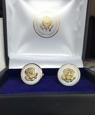 24k Gold Plated Cufflinks - CUFFLINKS VVIP RARE 24K GOLD PLATED  WHITE COBALT VICE PRESIDENT JOE BIDEN