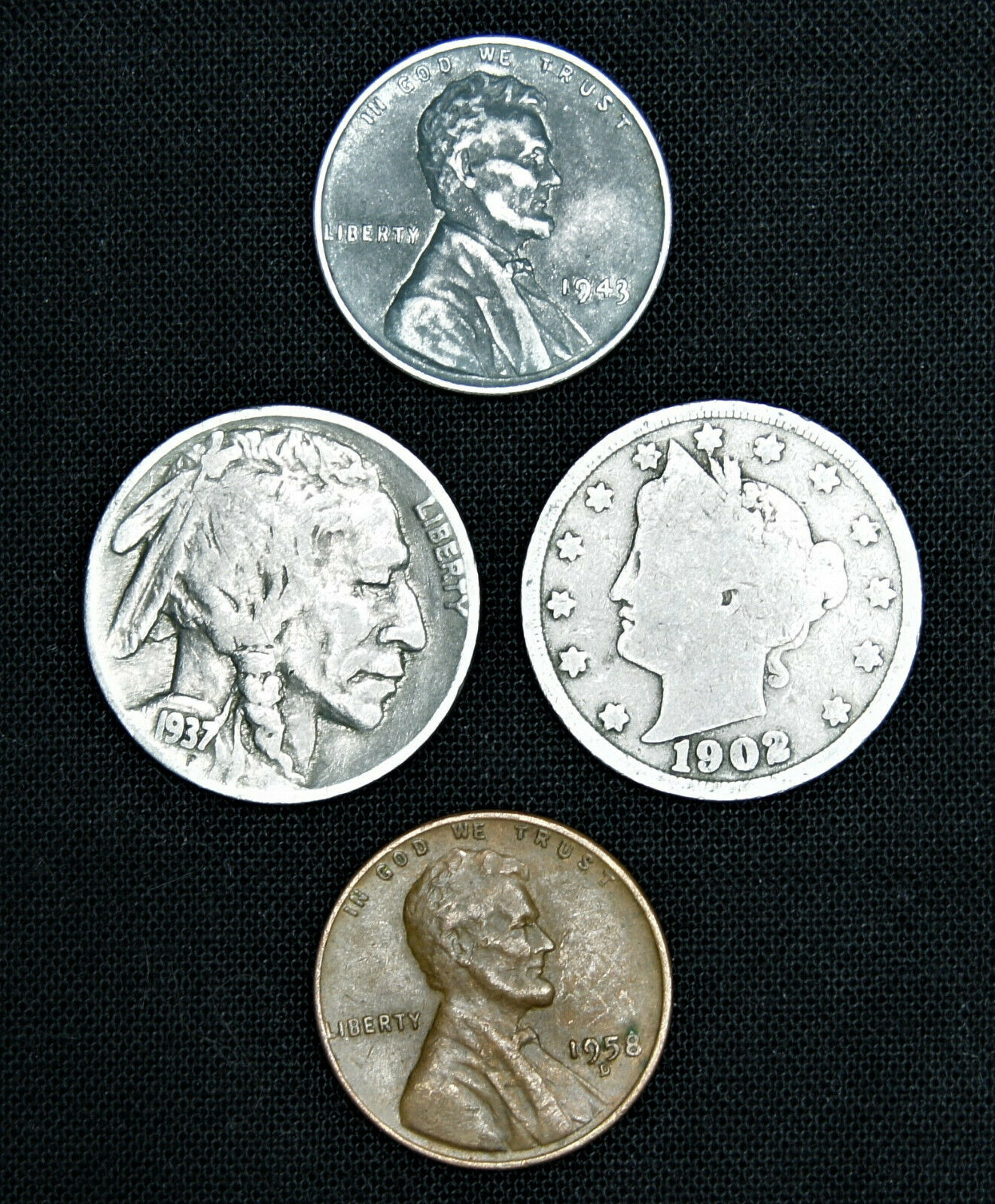 Best  MIXED OLD US COIN COLLECTION LOT (4) - BUFFALO LIBERTY V NICKEL STEEL WHEAT CENT