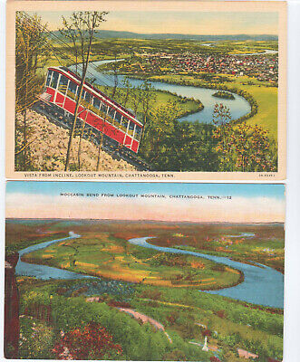 Chattanooga, TN Postcard LOT 2 Lookout Mountain View from Incline Moccasin Bend