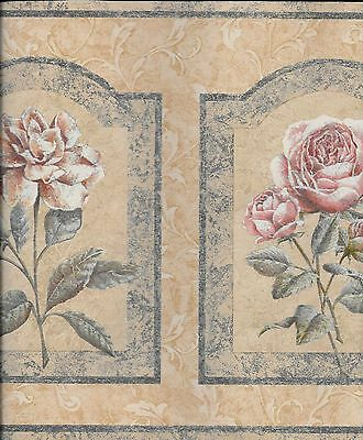 - Roses Framed in Blue on a Tan Leaf Scroll WALLPAPER BORDER