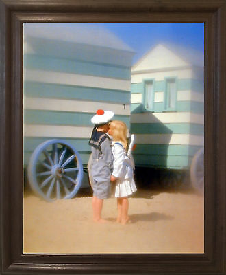 Cute Movie Couples (Cute Boy & Girl Kissing Couple Inspirational Brown Rust Framed Wall Art)