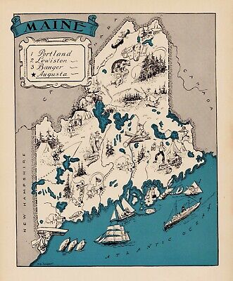 1930s Animated MAINE State Map RARE Map Reprint Map of Maine Wall Art usbl