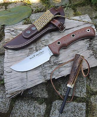 Muela Aborigen Braun Messer Outdoormesser 4116 Stahl Micartagriff Feuerstarter