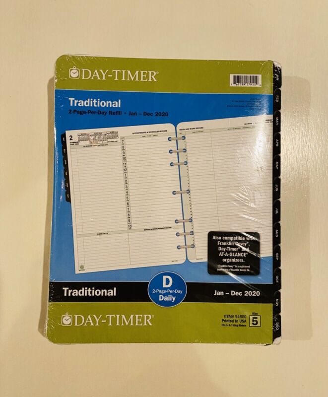 "DAY-TIMER 2020 Refill Size 5 Traditional DAILY Planner 8.5""x11"""