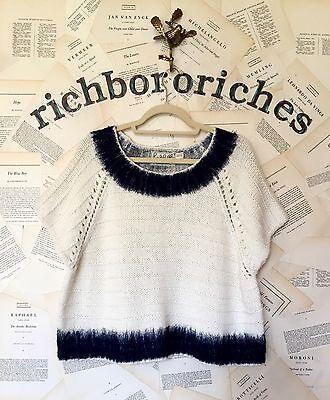 NWT Anthropologie Field Flower ivory navy trim Crop Pullover Sweater Vest XL
