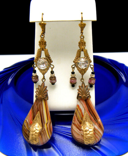 Phenomenal Victorian Dangle Earrings Czecho End of Day Glass Paste Beads