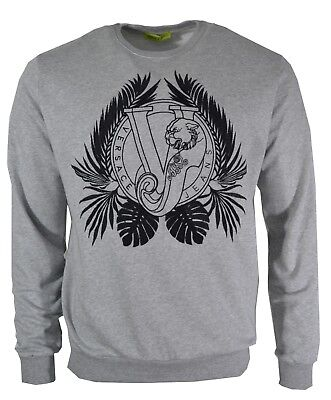 BNWT VERSACE JEANS SWEATSHIRT GREY & BLACK EMBROIDERED TIGER VJ LOGO JUMPER RARE