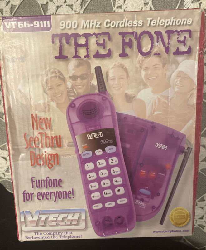 Vtech VT 66-911 900 Mhz Cordless Telephone See Through Purple Pink New