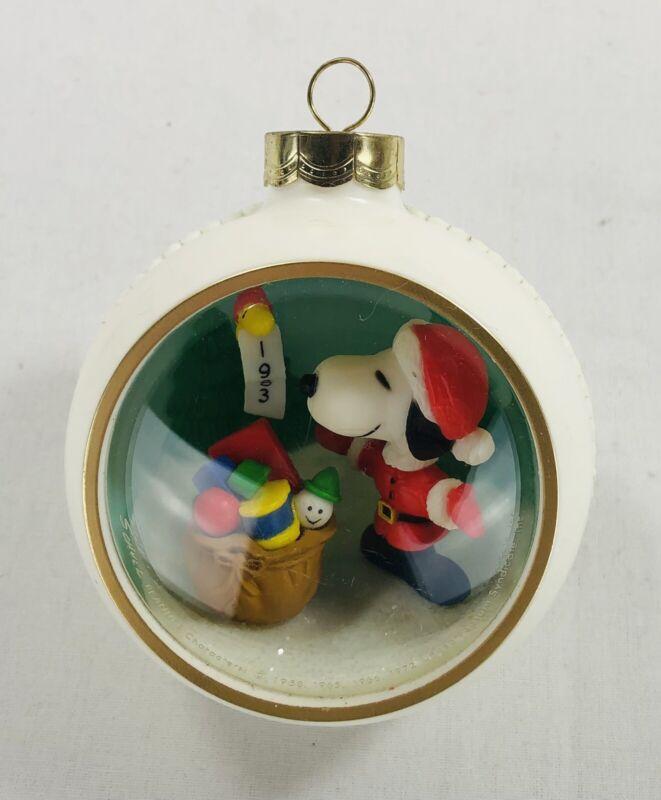 1983 Snoopy Peanuts Panorama Diorama Christmas Ornament
