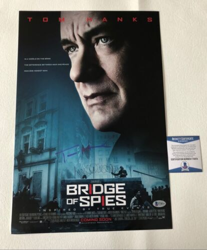 TOM HANKS SIGNED AUTOGRAPH BRIDGE OF SPIES 12X18 PHOTO POSTER BECKETT BAS COA 3