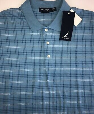Nautica Polo Shirt Mens Large Short Sleeve Blue Stripe