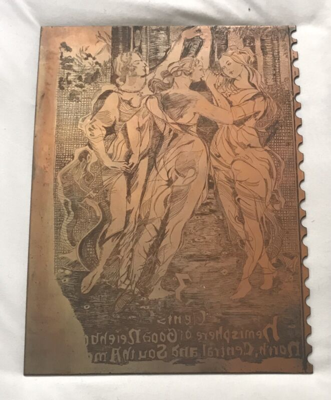 Antique Copper Metal Printing Plate Advertising Pan American Union 3 Cent Stamp