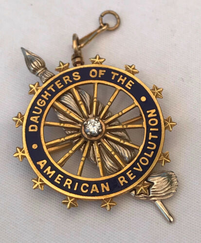 Vintage DAR Daughters of The American Revolution Insignia with Diamond
