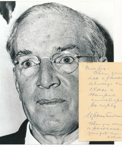 Upton Sinclair - Circa 1962 Signature & Note on a Post Card w/ Photo - Autograph