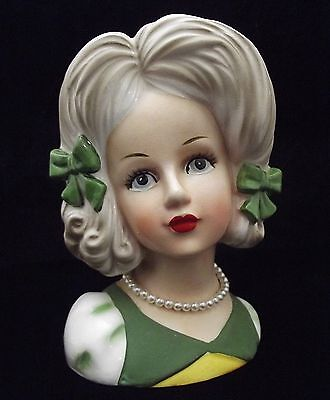 """5 3/4"""" Lady Head Vase Headvase Teen With Green Dress & 2 Bows Pearls~ Relpo 2031"""