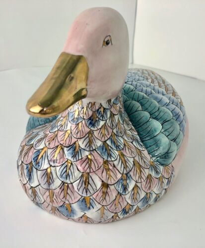 Duck Figurine Porcelain Large Trimmed with Gold