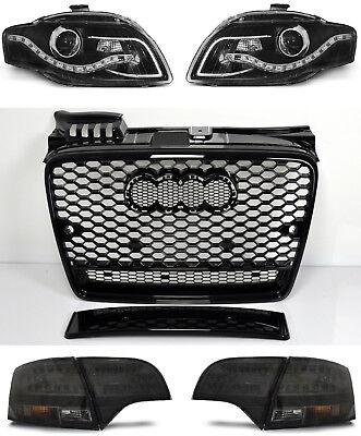 Ecke Vorne Schwarz Leder (Für Audi A4 B7 04-08 RS4 Look Wabengrill + Led Scheinwerfer + Rückleuchten Grill)