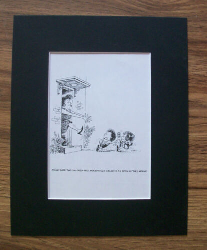 Child Cartoon Print Norman Thelwell Scarey Welcome Bookplate 1977 8x10 Matted