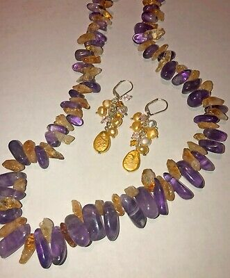 Amethyst and Citrine (free-form nugget) necklace & new pearl earring set Amethyst Citrine Jewelry Set