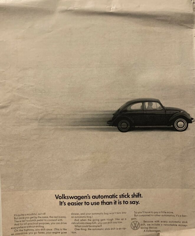 1960s VW Volkswagen Beetle vintage advertisement print ad poster car photo