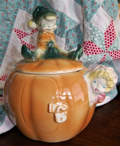 1959 Brush Pottery Co - Peter Pumpkin Eater Cookie Jar - Stamped USA W24 - MINT!