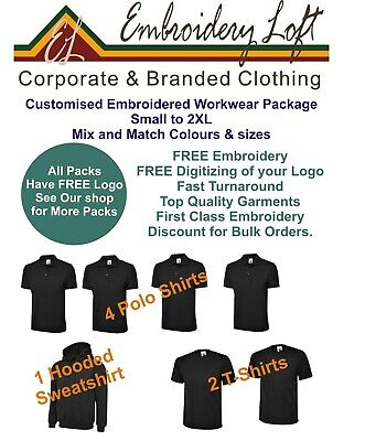 PERSONALISED WORK UNIFORM EMBROIDERED WORKWEAR PACKAGE.POLO SHIRT BUNDLE PACK 14