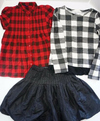 Lot Of Girls Clothing Gap The Childrens Place Checkered Pattern Black Skirt Size