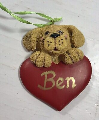 Dog Heart BEN Christmas Tree Ornament Holiday Personalized Decoration Display