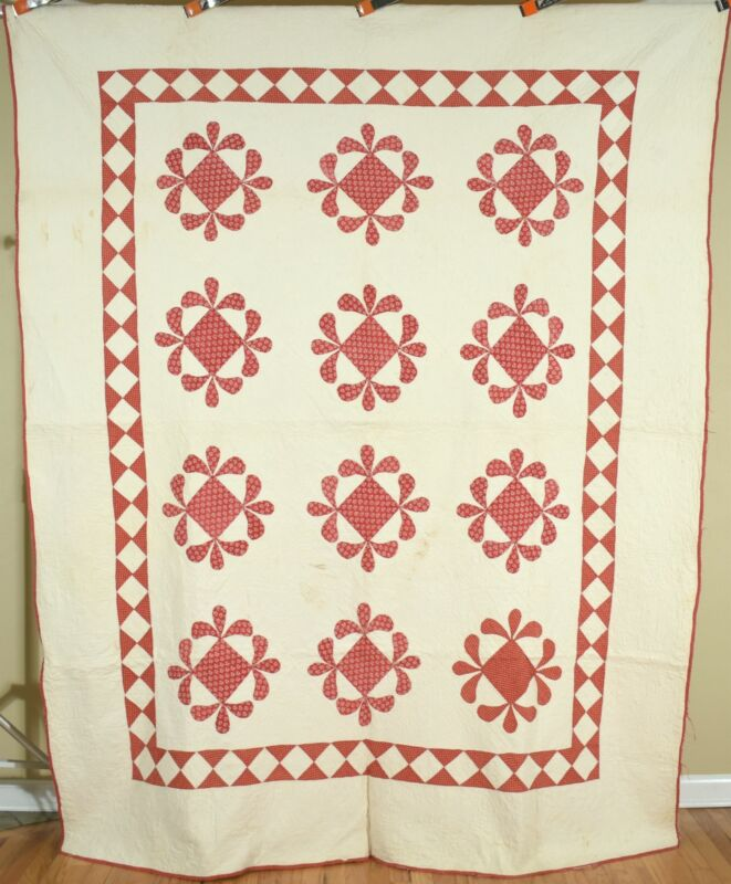 VERY EARLY Vintage Red & White Honeybee Antique Quilt c. 1840 ~AMAZING QUILTING!