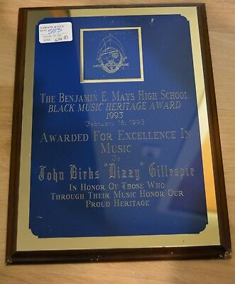 DIZZY GILLESPIE AWARDED PLAQUE JAZZ MUSIC TRUMPET 1993 GREAT!!! Personal