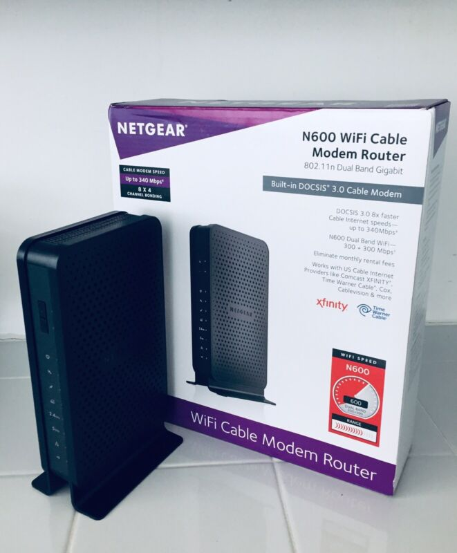 NETGEAR N600 Dual-Band Router with DOCSIS 3.0 Cable Modem Black C3700-100NAS