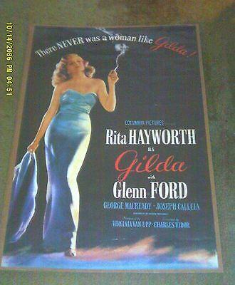 """Movie Poster 39.5 X 25.5"""" GILDA w/ Rita Hayworth & Glenn Ford"""