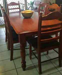 Wooden Dining Table - 6 Cushion Seats Wynnum West Brisbane South East Preview