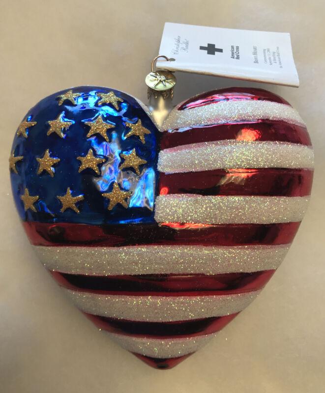 9/11 BRAVE HEART RED CROSS U.S. FLAG CHRISTMAS ORNAMENT CHRISTOPHER RADKO