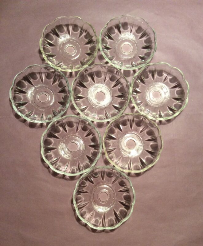 """8 Small Vintage Clear Glass Bobeches for Chandeliers, Olive Pattern, 3 1/4"""""""
