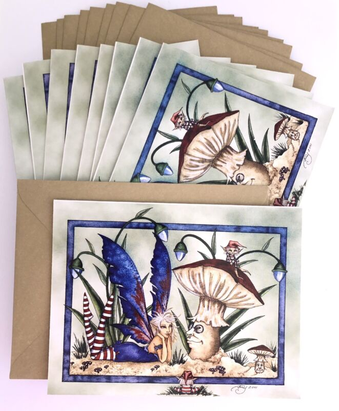 Amy Brown Fairies Note Cards, Set of 10 Blank Lazy Days Fairy Greeting Card Pack