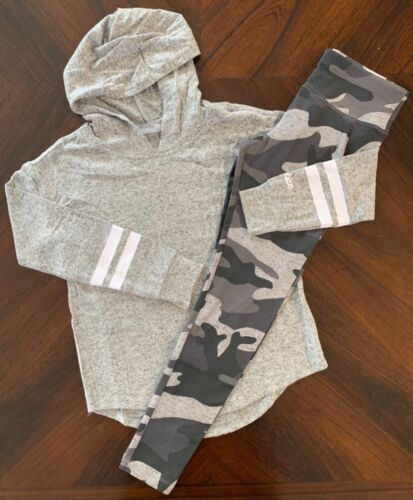 NWT Justice Girls Snuggly Soft Stripe Sleeve Hoodie & Camo Leggings Outfit! 10!
