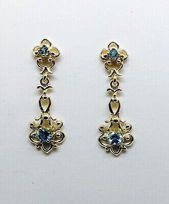 Victorian 14K yellow gold And Swiss blue Topaz Dangle Earrings