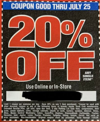 Harbor Freight 20 Off Super Coupon Home Depot Lowe s Exp 7/25/20 Electronic - $3.00