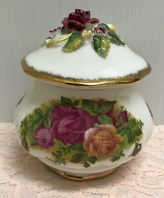 RARE OLD COUNTRY ROSES CHINA STYLE SCULPTED JAM JELLY JAR HONEY POT W/ GOLD GILT