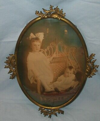 Antique/Vintage Oval Metal Frame Gold Finish Children Photo Convex Glass 14x20
