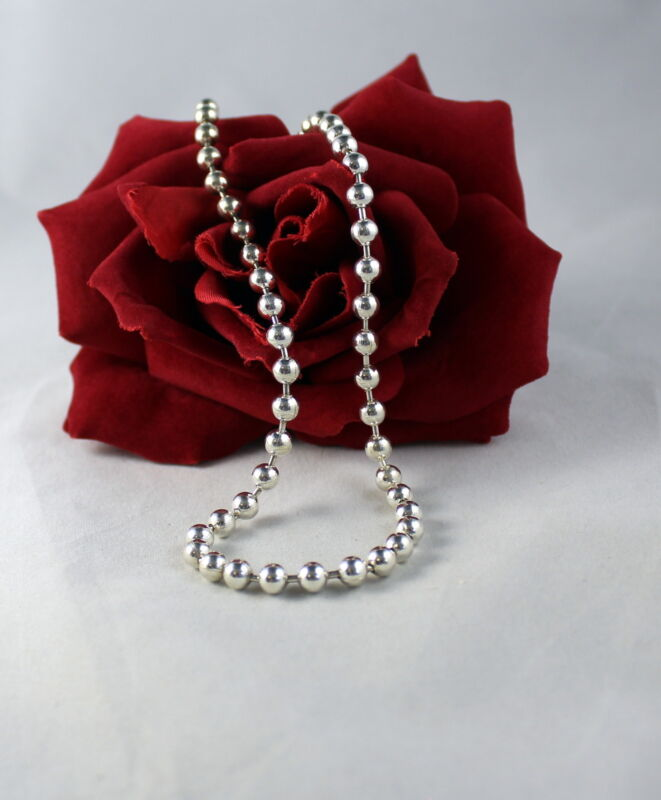 """Sterling Silver Italy 24g 16"""" Beaded Necklace   CAT RESCUE"""