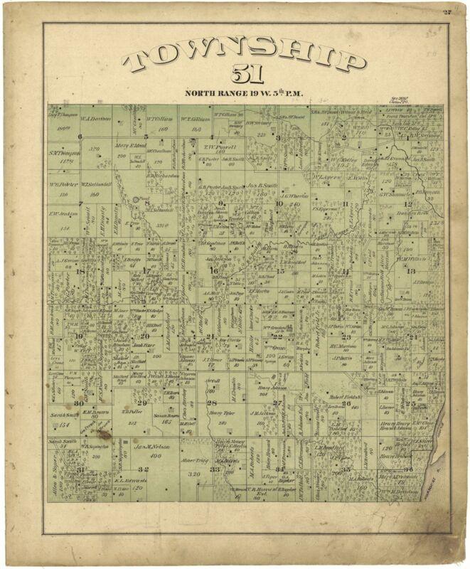 1876 SALINE COUNTY atlas plat maps old GENEALOGY Missouri history Land DVD P64