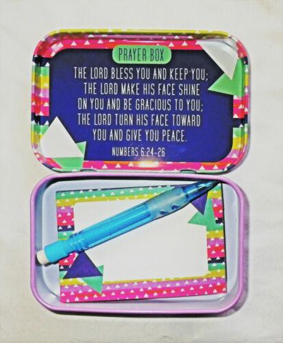 NEW Geometric GIVE IT TO GOD PRAYER BOX TIN w/ Note Pad & Pencil Inside B