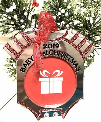 CHRISTMAS TREE ORNAMENT PHOTO FRAME Baby's First Christmas 2019 So Cute 🎄 ()