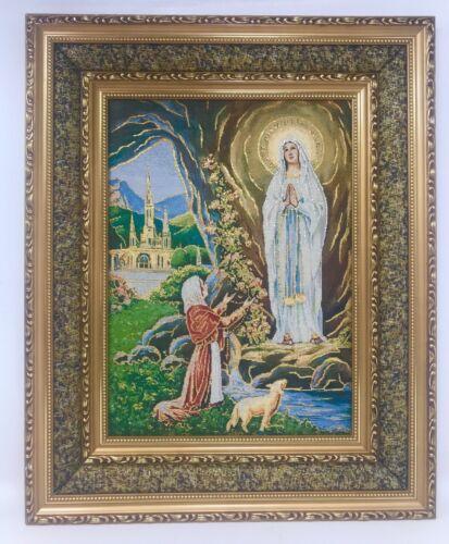 "17""x21"" Virgen De Lourdes Image on Cushioned Surface Frame Orthodox Image 3040D"