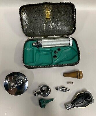 Vintage Antique Welch Allyn Otoscope Opthalmoscope With Parts In Case A20