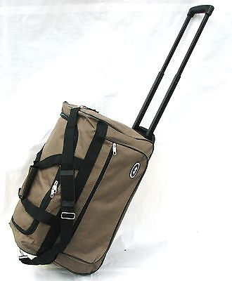 21\ BROWN 40LB CAP ROLLING WHEELED DUFFLE BAG CARRY ON SUITCASE W/RETRACT HANDLE