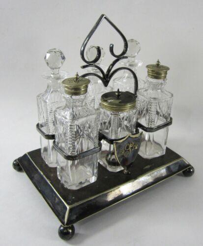 Antique Henry Wilkinson Cruet Set Condiment Crystal Silver Plate 6 Pcs Victorian
